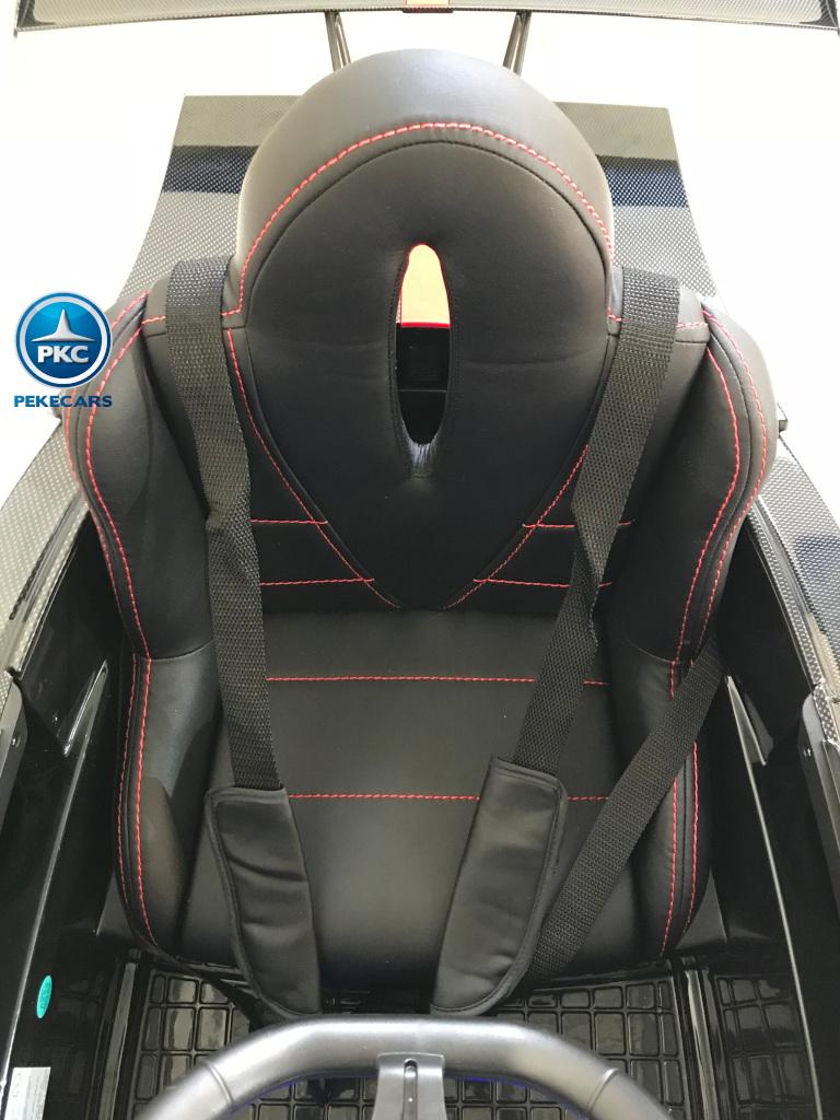 Coche electrico para niños Pagani Zonda Blanco asiento acolchado regulable