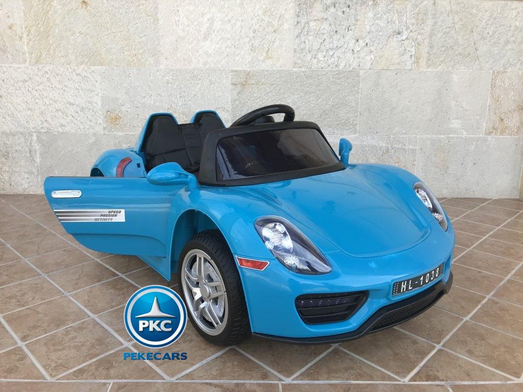 Coche electrico infantil Porsche style azul apertura de puertas