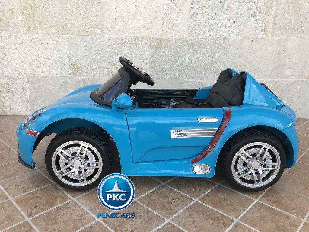 Coche electrico para niños Porsche style azul lateral