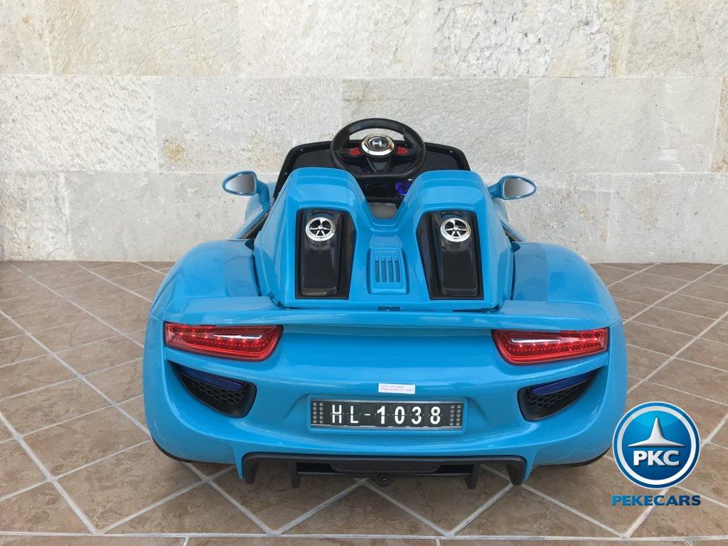 Coche electrico para niños Porsche style azul vista trasera