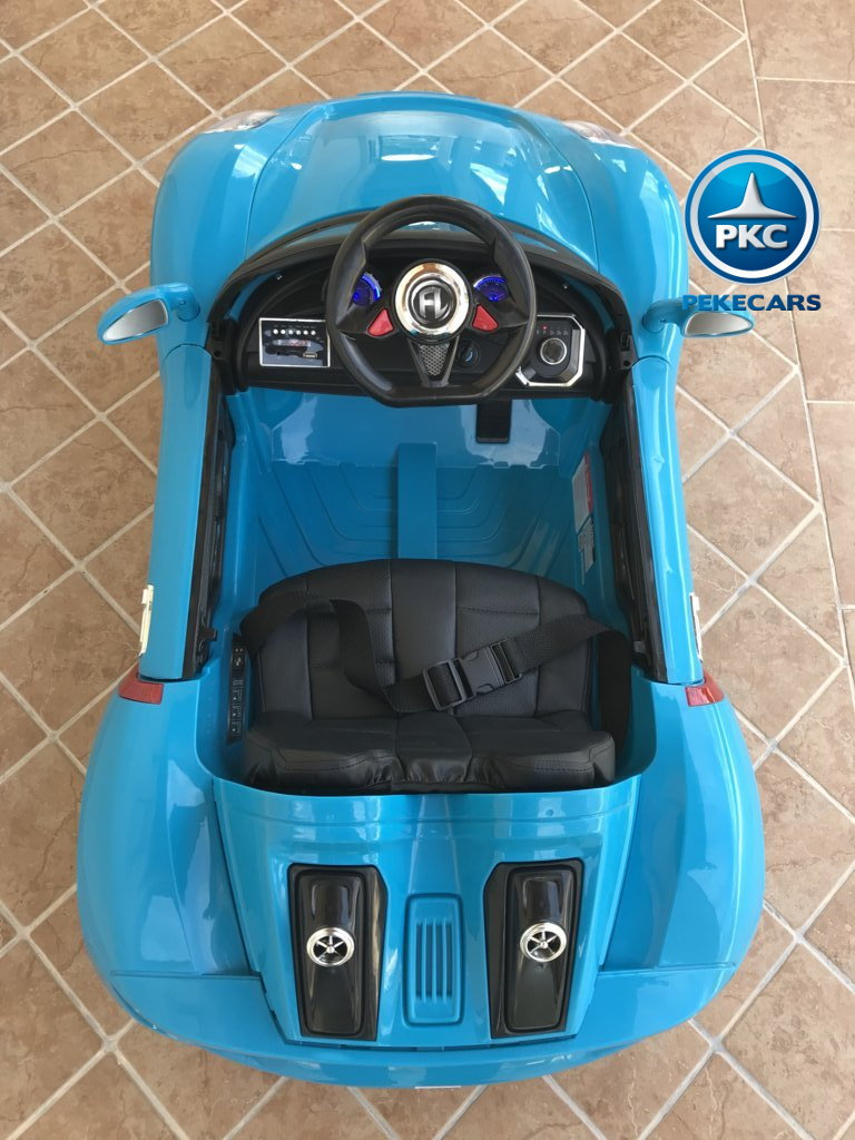 Coche electrico infantil Porsche style azul detalles del interior