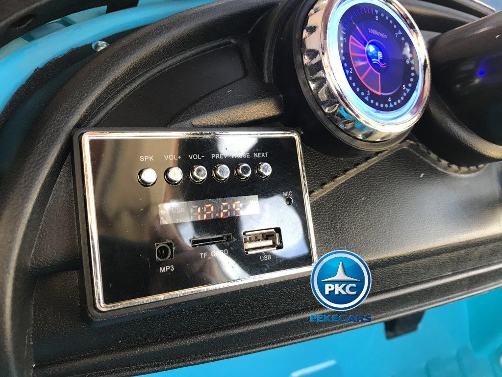 Coche electrico para niños Porsche style azul dashboard