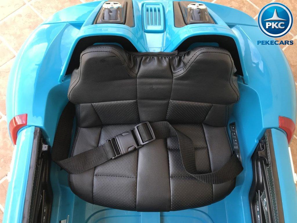 Coche electrico para niños Porsche style azul asiento acolchado en piel