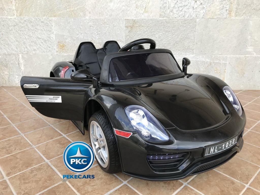 Coche electrico infantil Porsche style negro  apertura de puertas