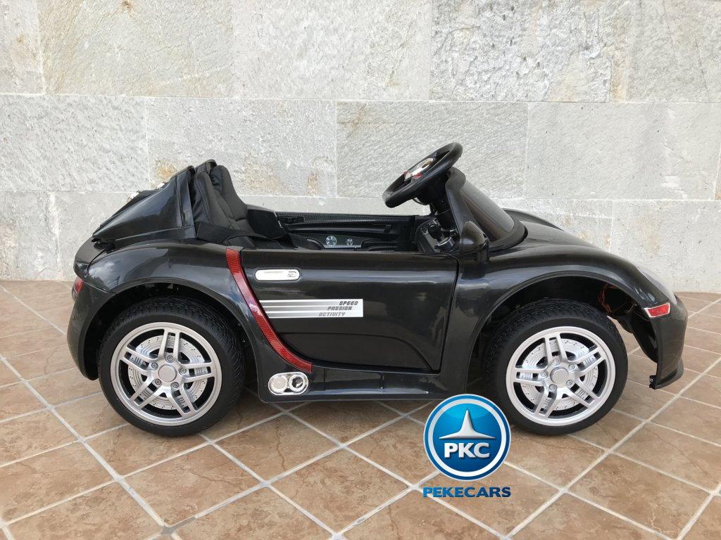 Coche electrico infantil Porsche style negro lateral
