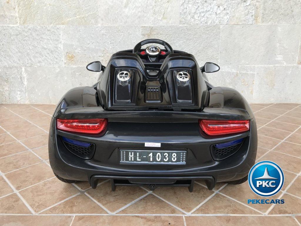 Coche electrico para niños Porsche style negro vista trasera