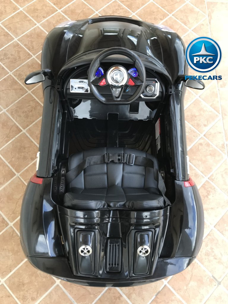 Coche electrico infantil Porsche style negro detalles del interior