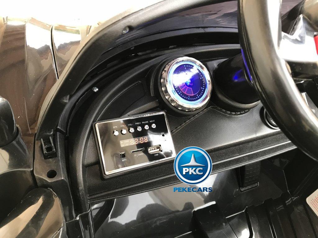 Coche electrico para niños Porsche style negro dashboard