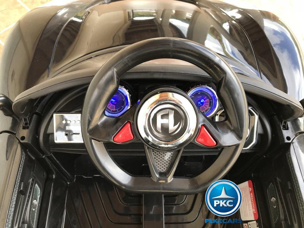 Coche electrico infantil Porsche style negro volante con musica y claxon