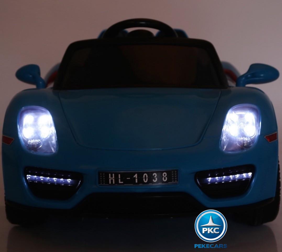 Coche electrico para niños Porsche style azul luces frontales
