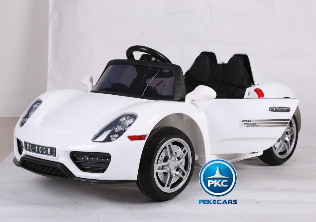 Coche electrico para niños Porsche style blanco vista principal