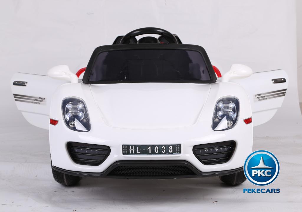 Coche electrico infantil Porsche style blanco apertura de puertas