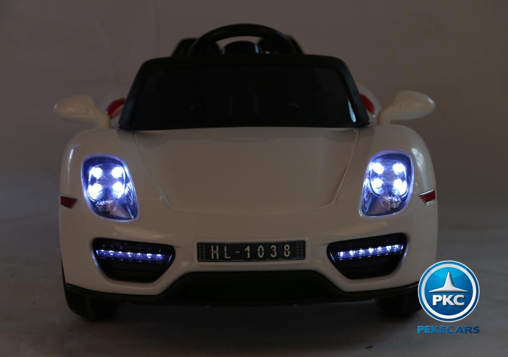 Coche electrico infantil Porsche style blanco con luces frontales