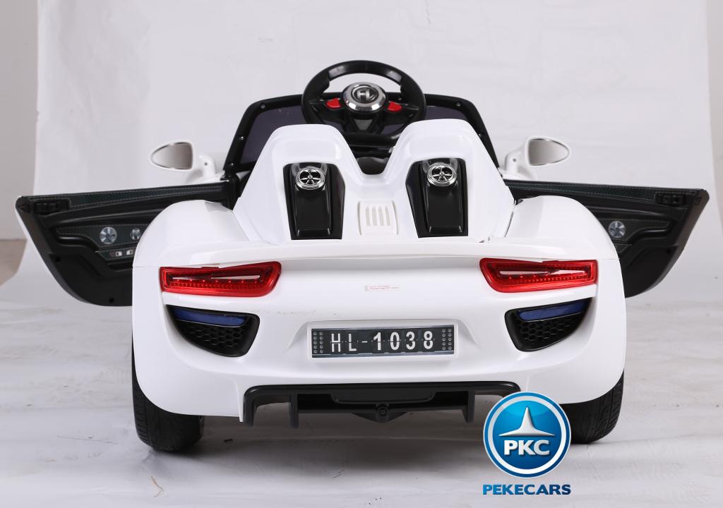 Coche electrico para niños Porsche style blanco vista trasera