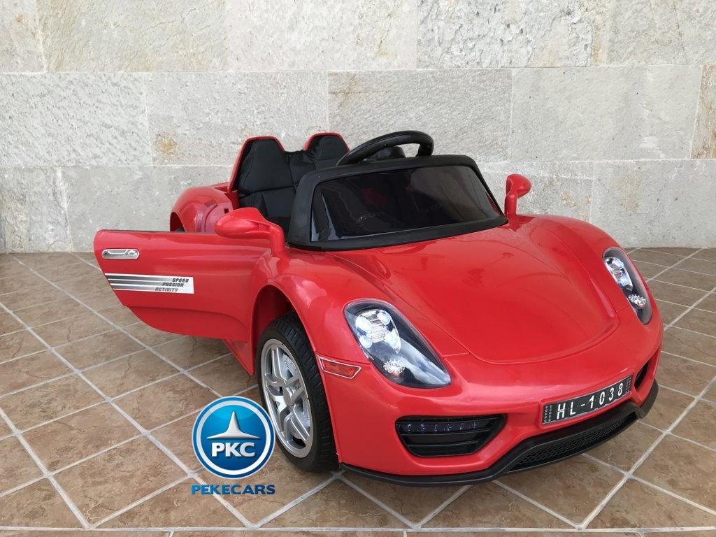 Coche electrico infantil Porsche style rojo  apertura de puertas