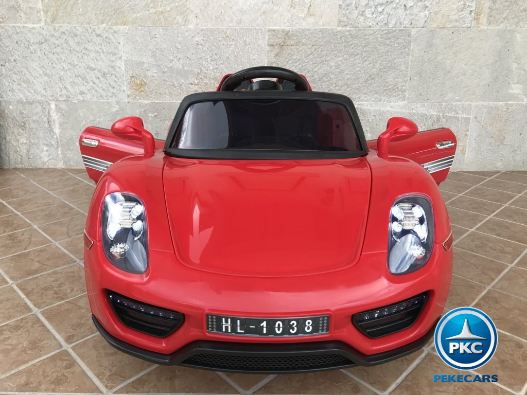 Coche electrico para niños Porsche style rojo frontal