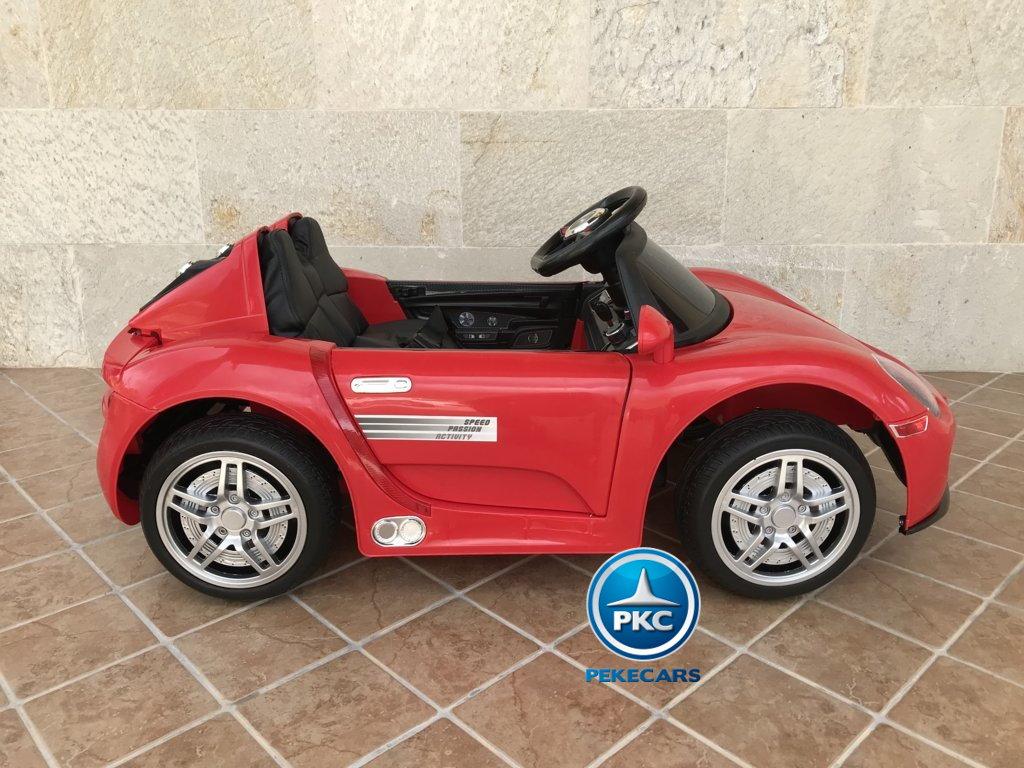 Coche electrico infantil Porsche style rojo vista lateral
