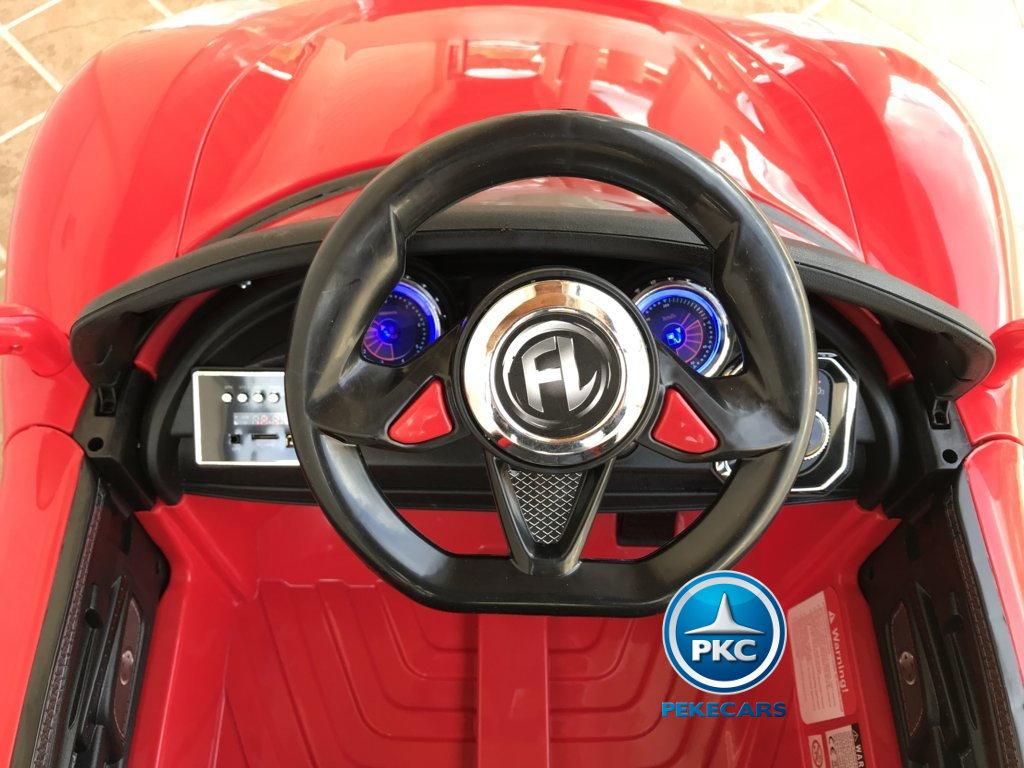 Coche electrico infantil Porsche style rojo volante con musica y claxon