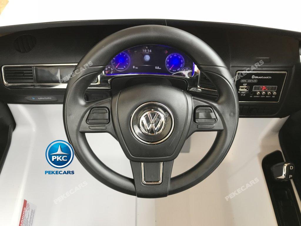 Coche electrico para niños Volkswagen Touareg Blanco volante con musica y claxon