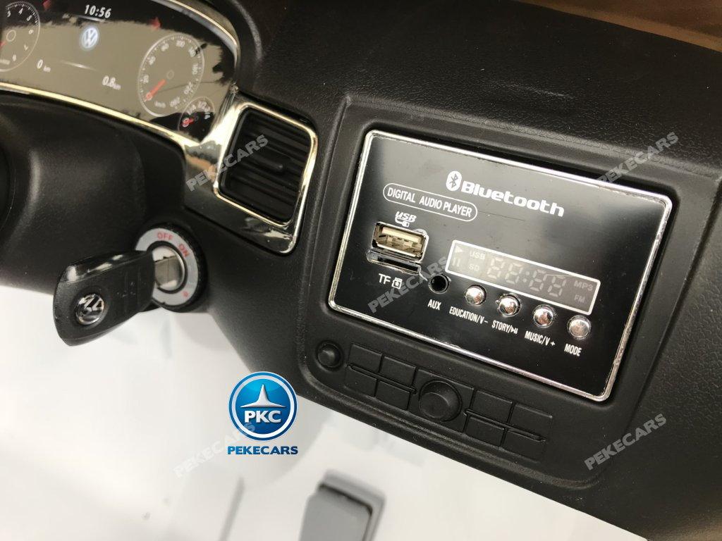 Coche electrico para niños Volkswagen Touareg Blanco conexión USB