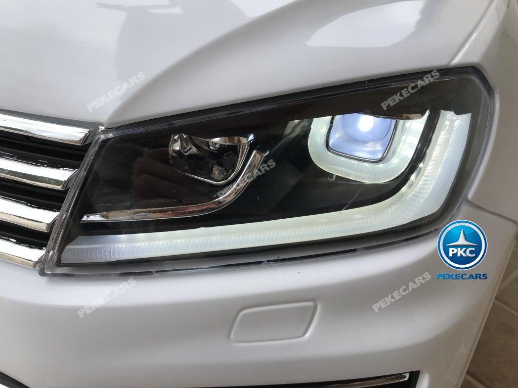 Coche electrico para niños Volkswagen Touareg Blanco luces frontales