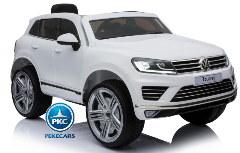 Coche electrico para niños Volkswagen Touareg Blanco con MP4 vista principal