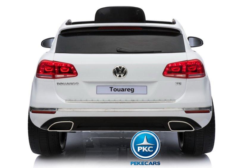 Coche electrico infantil Volkswagen Touareg Blanco con MP4 vista trasera