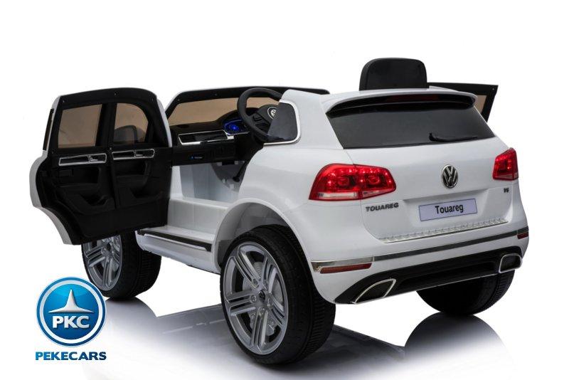 Coche electrico para niños Volkswagen Touareg Blanco con MP4 con apertura de puertas