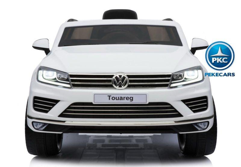 Coche electrico infantil Volkswagen Touareg Blanco con MP4 vista frontal