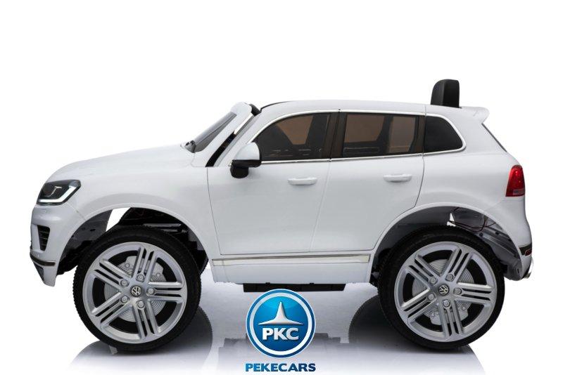 Coche electrico para niños Volkswagen Touareg Blanco con MP4 lateral