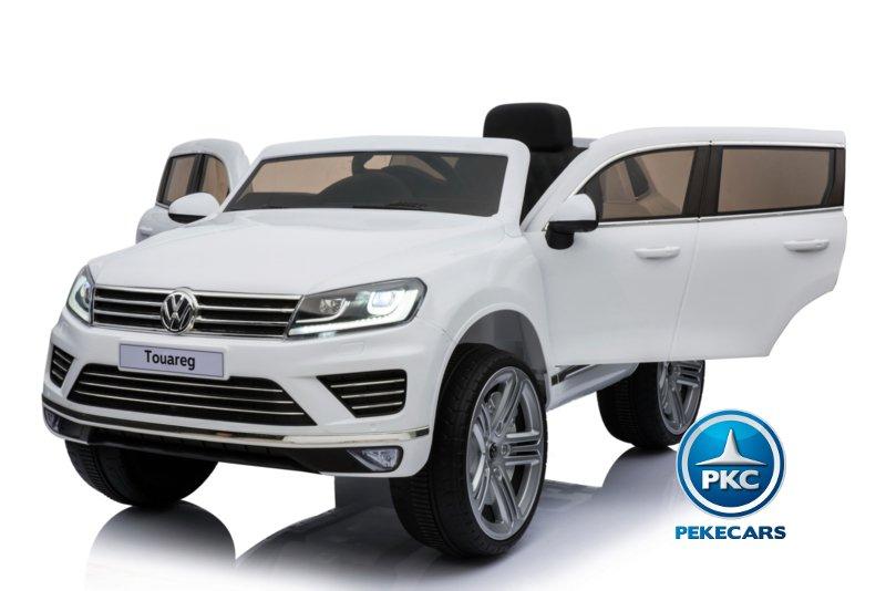 Coche electrico para niños Volkswagen Touareg Blanco con MP4 ventanas altas