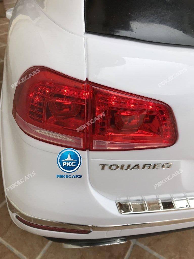 Coche electrico para niños Volkswagen Touareg Blanco con MP4 luces traseras