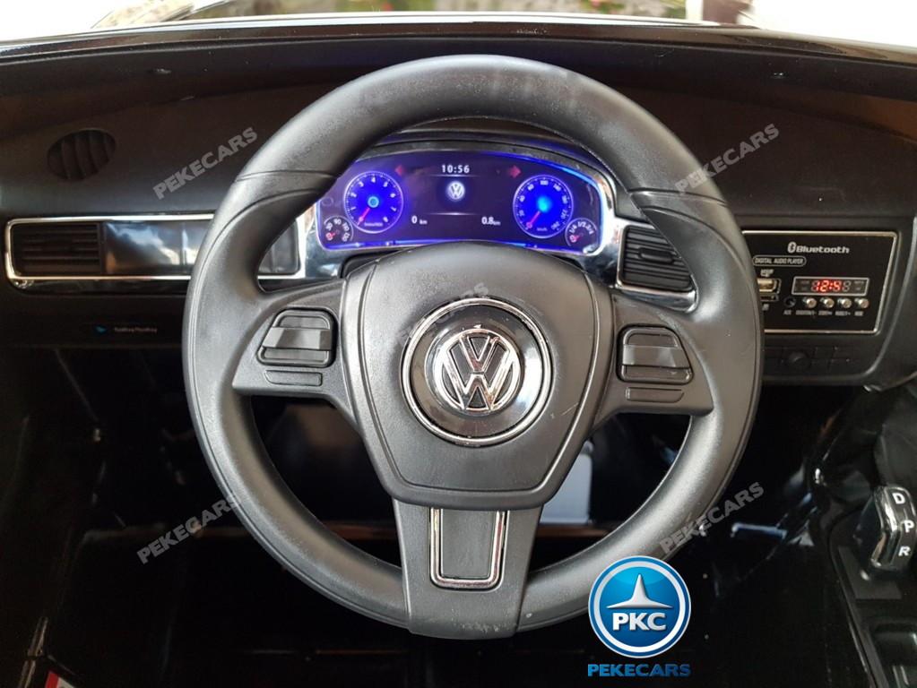 Coche electrico infantil Volkswagen Touareg Negro volante con musica y claxon