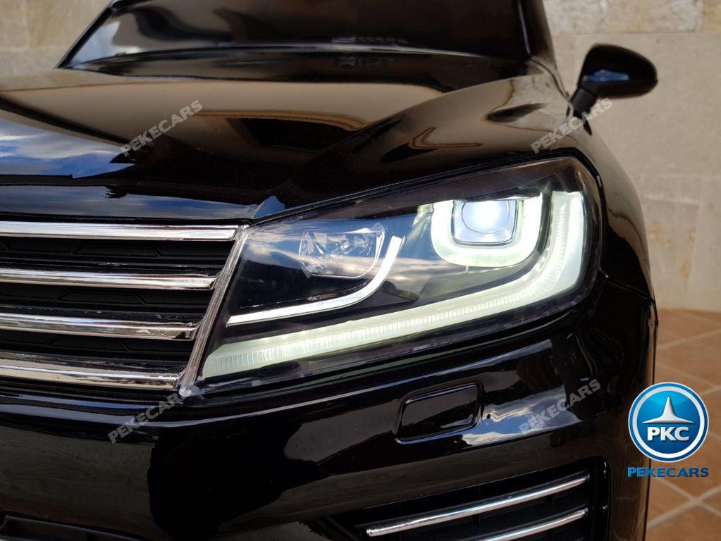 Coche electrico infantil Volkswagen Touareg MP4 Negro luces frontales