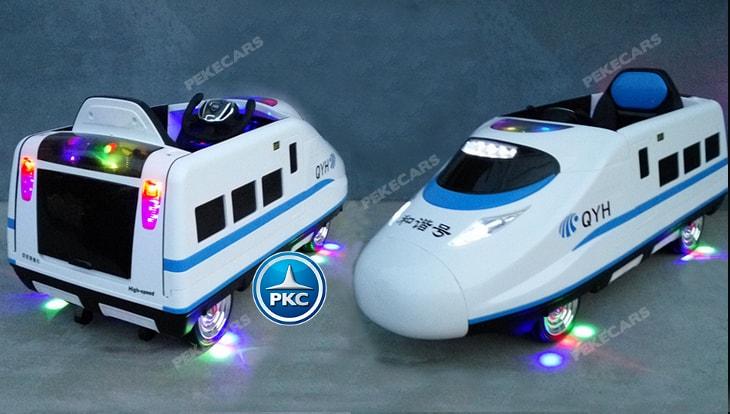 Tren electrico para niños Pekecars Blanco luces en los bajos
