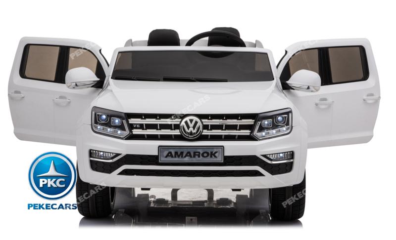 Coche electrico para niños Volkswagen Amarok Blanco con apertura de puertas