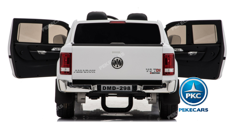 Coche electrico para niños Volkswagen Amarok Blanco luces traseras