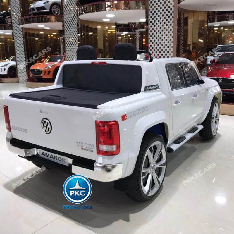 Coche electrico infantil Volkswagen Amarok Blanco maletero funcional