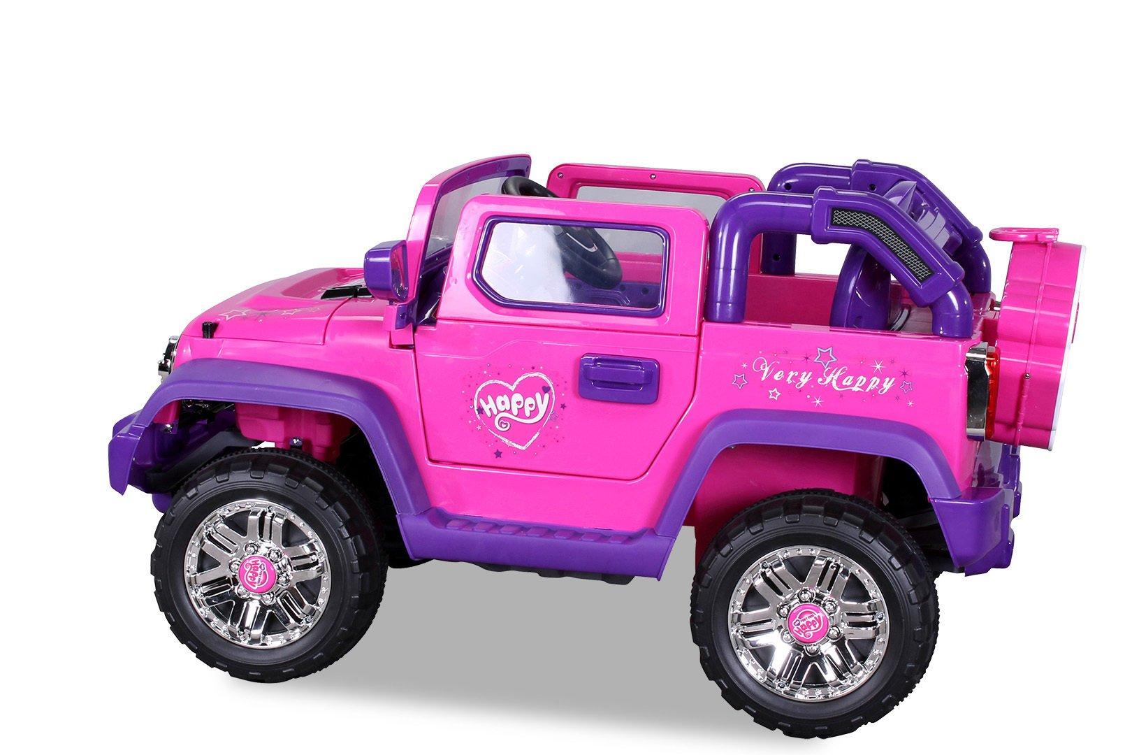 Coche electrico para niños Jeep Wrangler Style Rosa rueda de repuesto