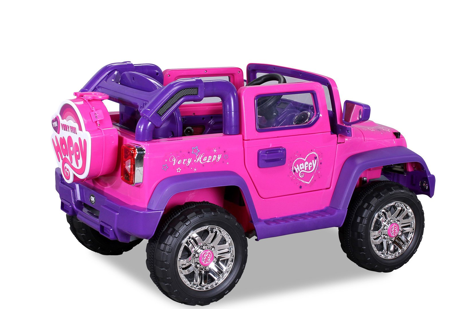 Coche electrico infantil Jeep Wrangler Style Rosa vista trasera