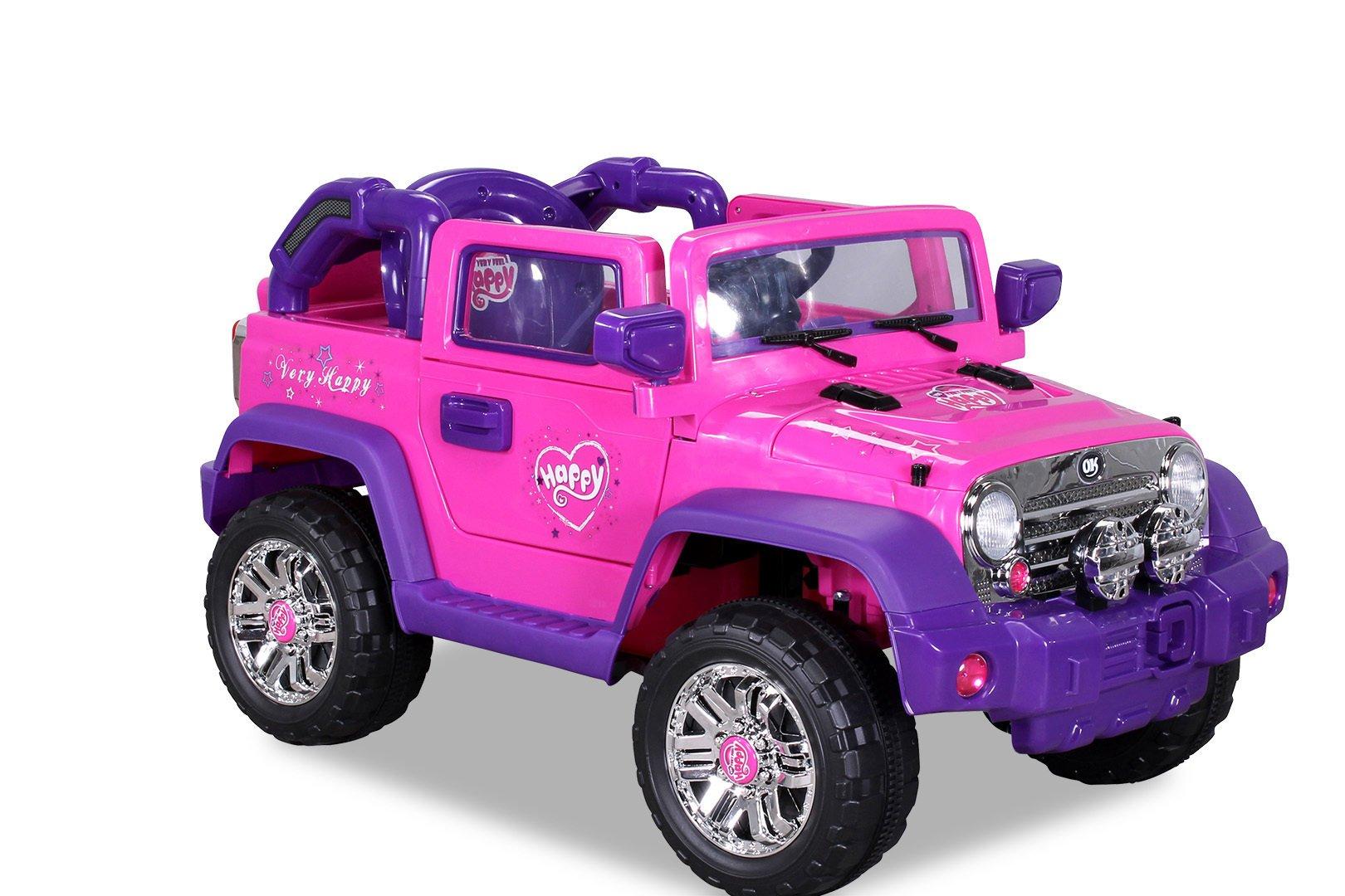 Coche electrico infantil Jeep Wrangler Style Rosa asiento acolchado en piel