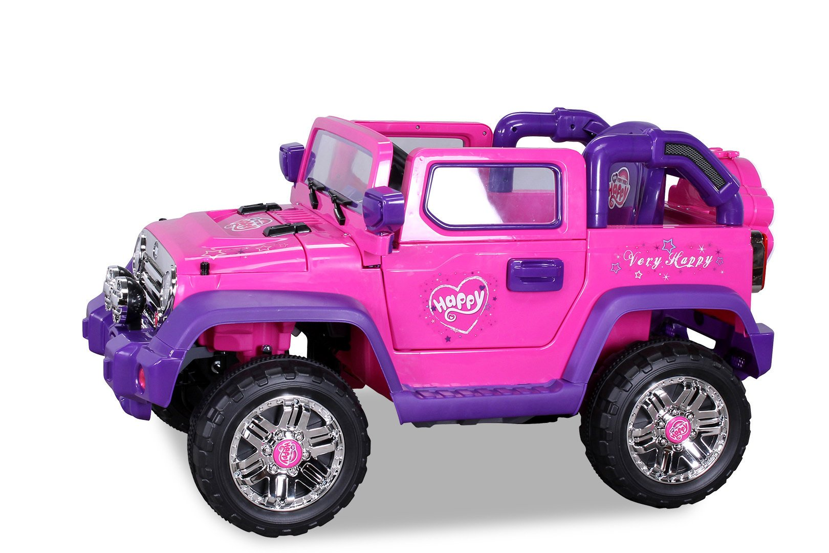 Coche electrico para niños Jeep Wrangler Style Rosa visto desde arriba