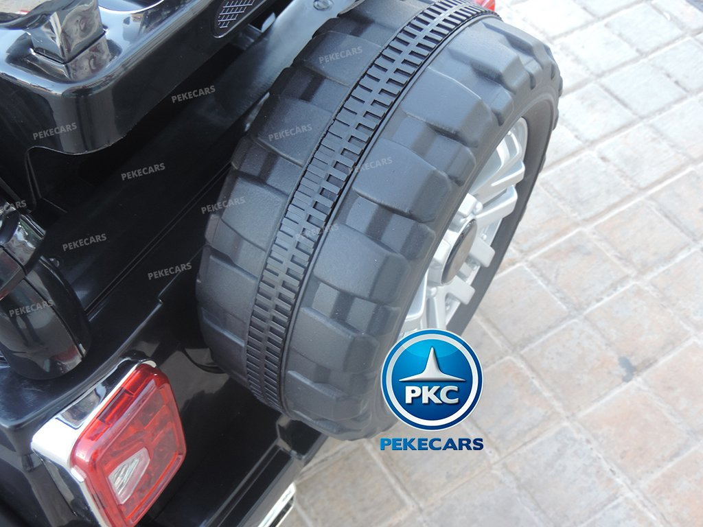Coche electrico para niños Jeep Wrangler Style Negro rueda de repuesto