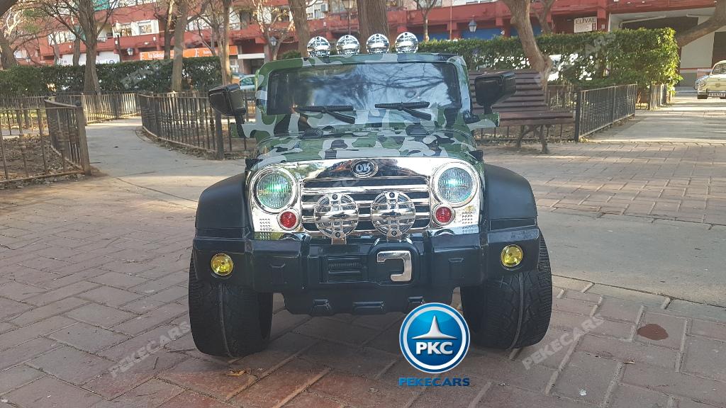 Coche electrico para niños Jeep Wrangler Style Verde Camuflaje vista frontal