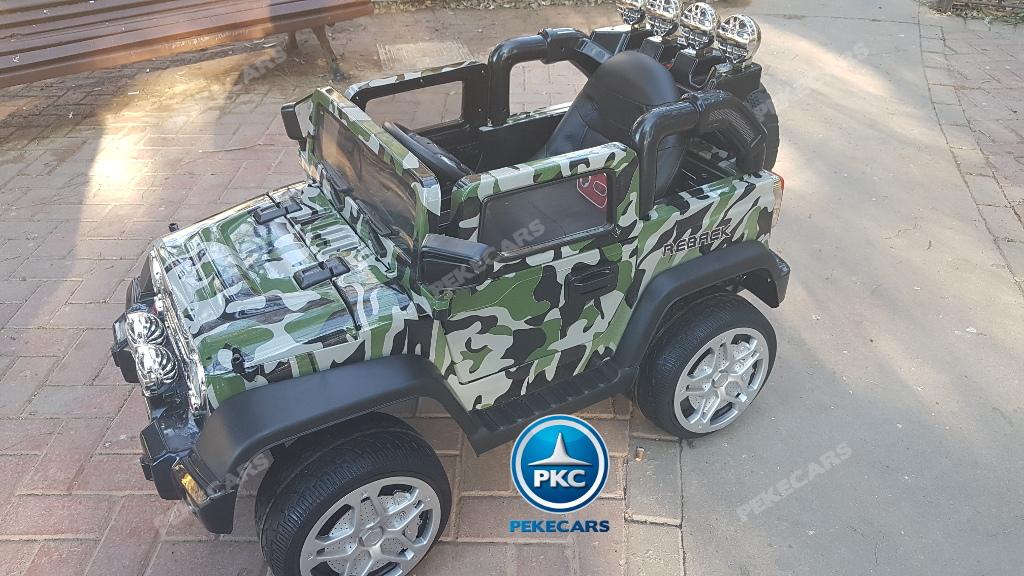 Coche electrico para niños Jeep Wrangler Style Verde Camuflaje con ruedas de caucho