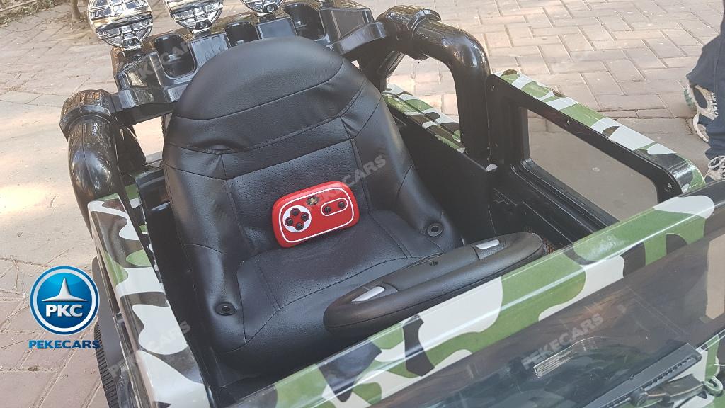 Coche electrico para niños Jeep Wrangler Style Verde Camuflaje asiento acolchado