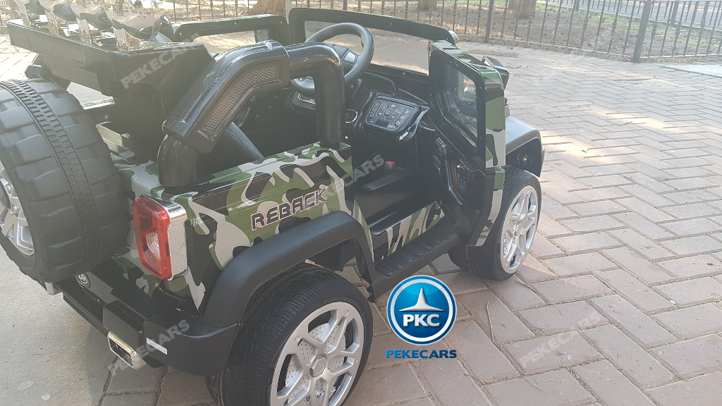Coche electrico para niños Jeep Wrangler Style Verde Camuflaje con apertura de puertas