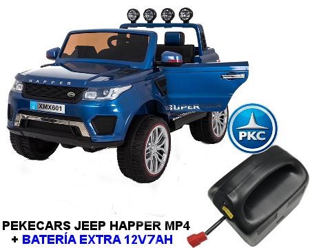 Coche electrico para niños Jeep Happer MP4 Azul Metalizado vista principal