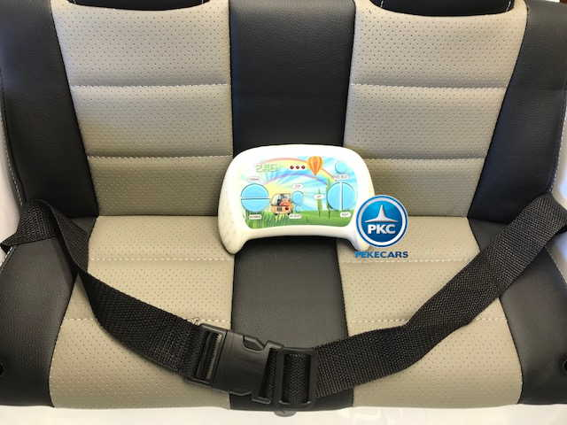 Coche electrico infantil Jeep Happer MP4 Blanco asiento acolchado en piel