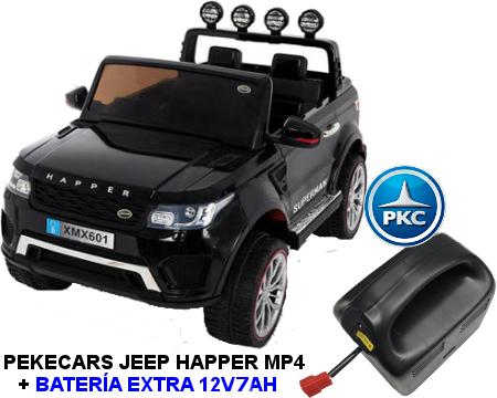 Coche electrico para niños Jeep Happer MP4 Negro vista principal